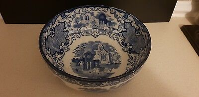 George Jones & Son Abbey Fruit Bowl Blue And White Transfer Pottery c1790