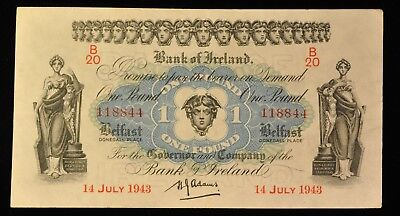 1943 RARE Uncirculated Bank of Ireland 1 Pound Note. ITEM Z56