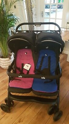 Joie Aire Twin Stroller Blue/Pink Double Baby Pushchair Buggy Multiposition *Wow