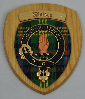 Vintage Old Scottish Carved Wood WATSON Clan Ancient Tartan Plaque Crest Shield