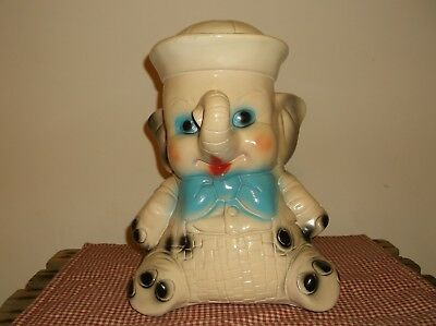Vintage Chalkware  Baby Elephant Sailor Bank