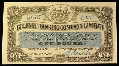 1939 RARE Uncirculated Belfast Banking Company 1 Pound Note. ITEM Z57