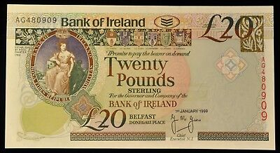 1999 RARE Uncirculated Bank Of Ireland 20 Pound Note. ITEM Z58