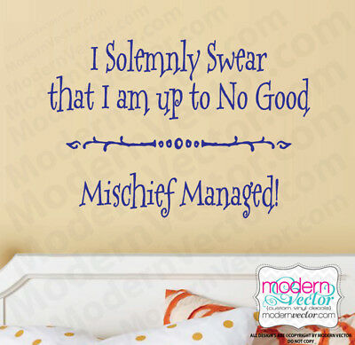 Harry Potter Solemnly Swear I'm up to no good Mischief Vinyl Wall Decal Sticker