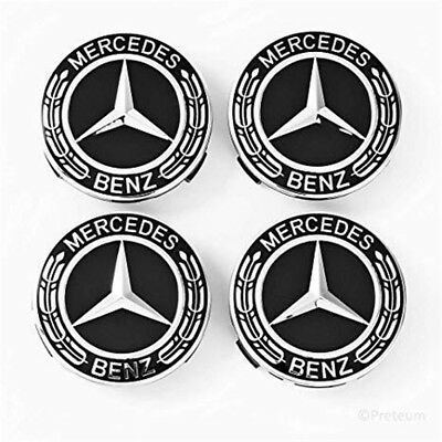 4pcs 75mm Car Wheel Center Hub Cap Rim Caps Emblem Black Badge for Mercedes Benz