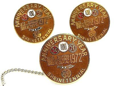 El Bekal Shriners Cufflinks Set Vintage 1972 Thorp Potentate Shrinetennial Brown