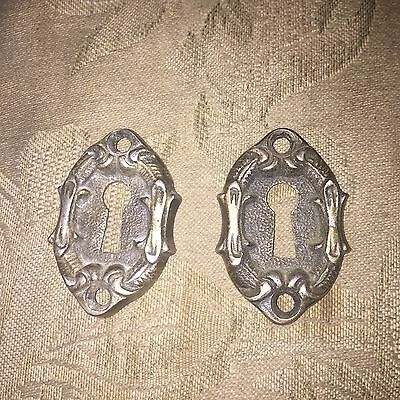 Antique Pair Of Russwin art nouveau leaf  border design Keyhole Covers