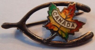Vintage Canadian Maple Leaf Sterling Silver Wishbone Good Luck Pin Back Canada !