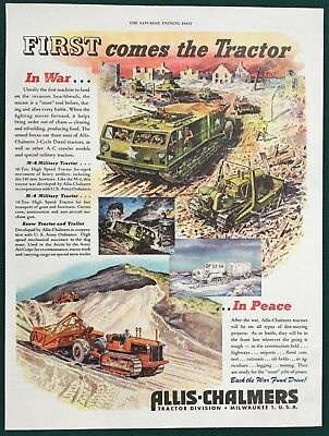 1944 ALLIS-CHALMERS TRACTOR CRAWLER, WWII, Millitary, War, Peace,  Lg orig ad
