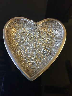 """Kirk Steiff Repousse Rose 3"""" Heart Dish Sterling Silver w Ring to hang~ Ornament"""
