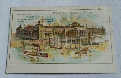 WORLDS FAIR AGRICULTURAL BUILDING Chicago DAWSON & CO trade card SPORTING GOODS