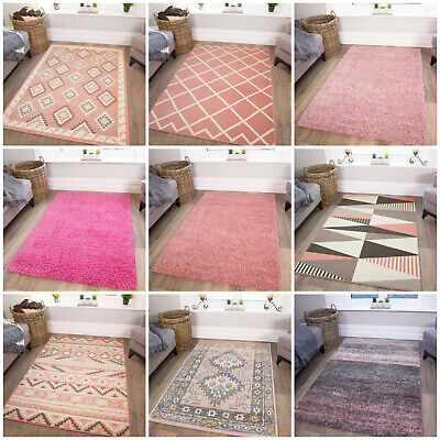 Blush Millennial Pink Living Room Rugs Soft Non Shed Cosy Bedroom Rug Cheap Mats