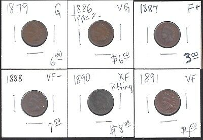 Indian Head Penny -  Lot Of 6 - 1879, 1886 T2, 1887, 1888, 1890, 1891