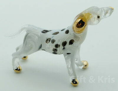 Figurine Animal Hand Blown Glass Dalmatian Dog No Painted w/ Painted Gold Trim