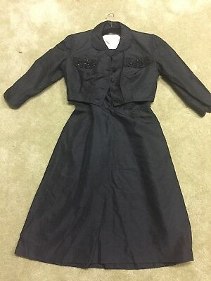VTG  W0MENS SMALL BLACK PARTY Beaded COCKTAIL EVENING TAFFETA DRESS With Jacket
