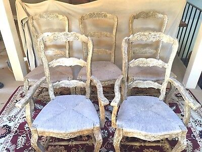 6 Vintage French Country Style Chairs Wood w/Rush Seat