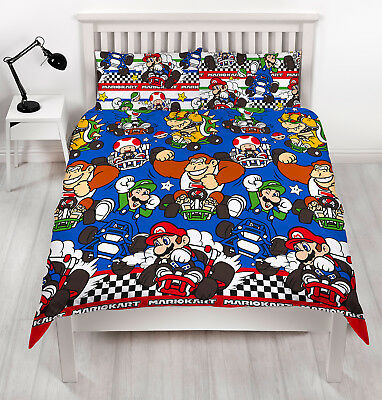 Nintendo Super Mario Racer Kids Childrens Double Duvet Quilt Cover Bedding Set
