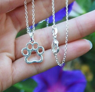 Paw Print Necklace Silhouette Pendant Dogs Cats Pet Gift Sterling Silver Chain