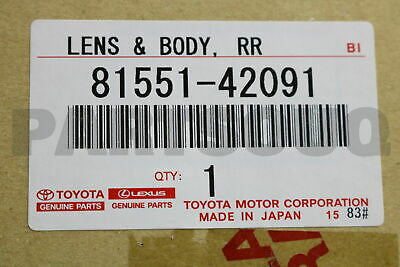 8155142091 Genuine Toyota LENS, REAR COMBINATION LAMP, RH 81551-42091