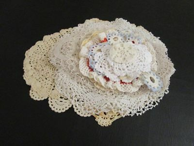 Lot of 25 Mostly Round Vintage Crocheted Doilies