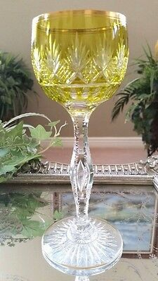 Vintage St Louis FRANCE Yellow Cut to Clear Crystal Wine Goblet with Gold Trim