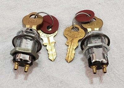 "2 Vintage Chicago Mortise Cylinder Door Lock 1 1/2"" With 2 Keys Keyed Alike 2471"