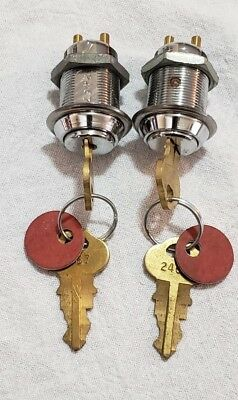 "2 Vintage Chicago Mortise Cylinder Door Lock 1 1/2"" With 2 Keys Keyed Alike 2467"