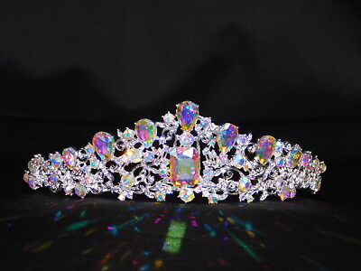 Silver AB Iridescent Rhinestone Crystal Queen Tiara Crown Bridal Pageant /1383
