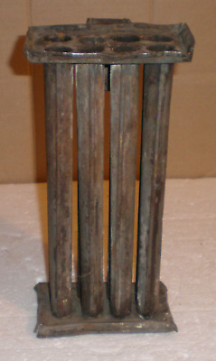 Vintage Antique Candle Mold, Tin, Primitive, 8 Tubes
