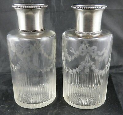 Antique French Cut Glass and Silver Perfume Bottles