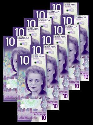 IN STOCK (LOT of 10) CANADA NEW $10 Bills with VIOLA DESMOND; FREE Shipping