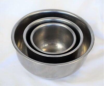 Vtg Vollrath Stainless Steel Mixing Nesting Bowls Set of 3- #s 6930 6931 6933