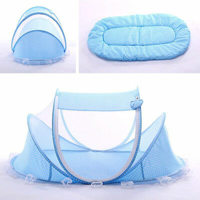 Blue Foldable Infant Baby Mosquito Net Travel Cot Tent Cradle Bed Pillow -XU01