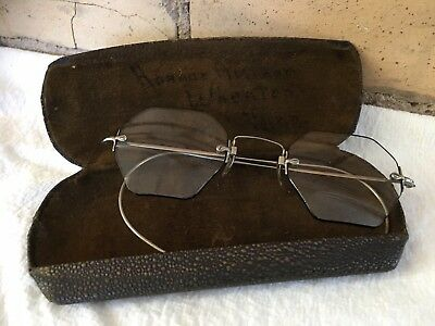 Antique Octagon READING Eye Glasses Lenses Lined In Black With Case 1885 - 1900s