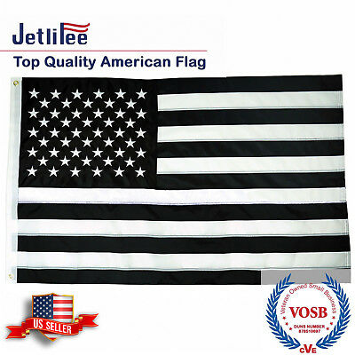 Black and White American Flag 3x5 Ft Embroidered Stars and Sewn Stripes US Flags