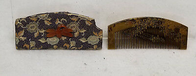 Antique Fine Japanese Gold Lacquer Comb Kushi Yamanaka Signed Agate Butterfly