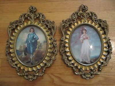 Vtg. Pinkie And Blue Boy Framed Prints, Oval Frames/Convex Glass. Italy