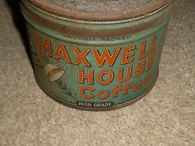 Vintage 1930's Maxwell House 1 Lb Coffee Can Tin w/ Lid General Foods