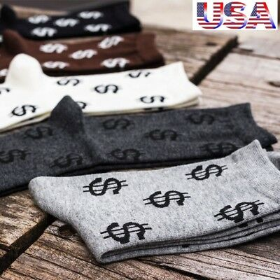 US 5Pair Winter Novelty Men's Long Socks Harajuku Money Dollar Patten Socks Gift