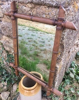 Art Deco period, French Faux Bamboo Mirror, Vintage, in good condition.