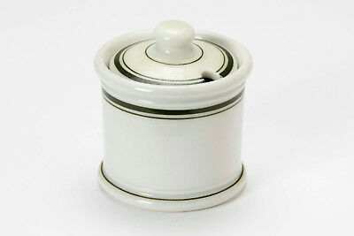 Jackson China Mustard Pot with lid white with green stripes