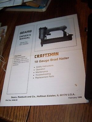 Craftsman Operator's Manual Only For (351.183090) 18 Gauge Brad Nailer 2/96