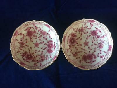 Good Pair Of Antique Meissen Porcelain Puce Hand Painted Pin Dishes. C1880.