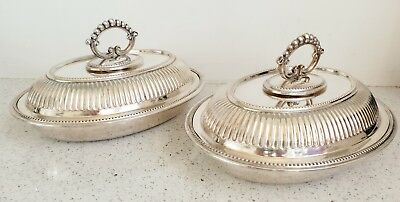 Antique Heavy Quality Pair Of Large Silver Mounted Entree Dishes Plated Oval