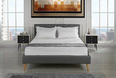 Vintage Style Bed Upholstered Bed Frame, Pleated Headboard Slats Queen Dark Grey