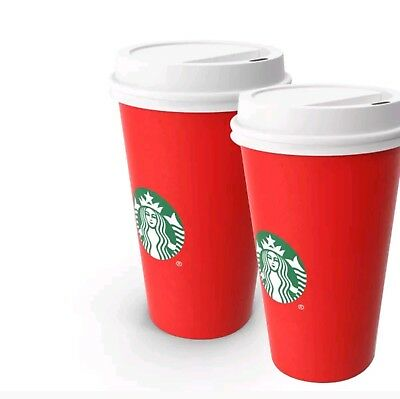New SET OF 2 Starbucks 2018 Limited Holiday Christmas Red Reusable Cup 16oz