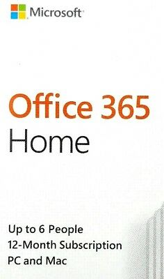 GENUINE Microsoft Office 365 Home 2019 (6 Users) 1-Year Subscription (PC or Mac)