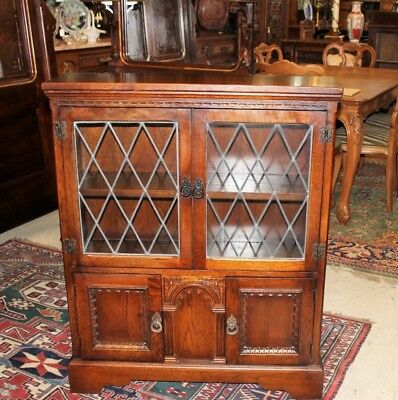 English Antique Oak Wood Leaded Glass Short Bookcase / Small Display Cabinet