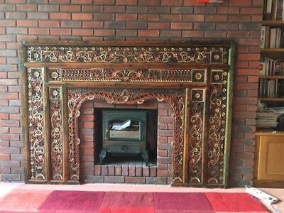 Antique Hand Carved Wood Frieze,Arch,Decretive,Fire Place.Indian.Asian / Eastern