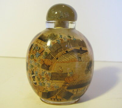 Large Vintage Chinese Reverse Painted Snuff Bottle Figural Scene Box